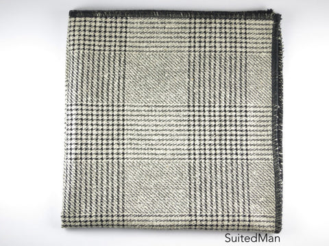 Pocket Square, Plaid, Black/Gray