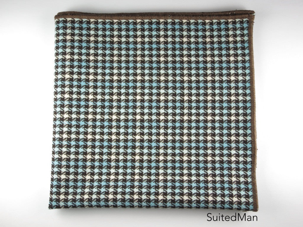 Pocket Square, Tesse, Brown/Blue with Brown Embroidered Edge - SuitedMan