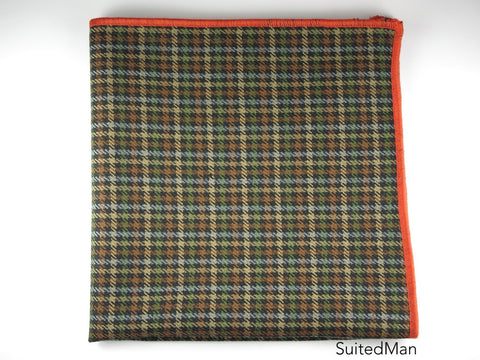 Pocket Square, Tesse, Green/Brown/Tan