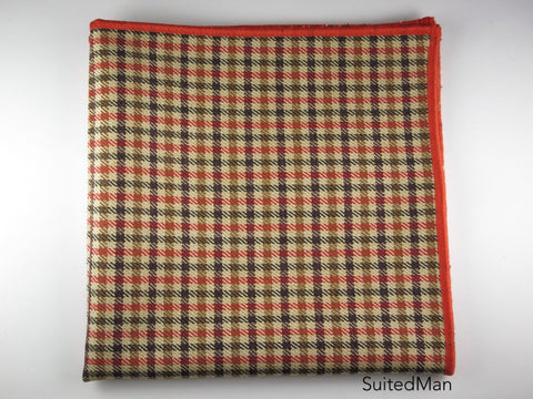 Pocket Square, Tesse, Tangerine/Brown/Tan