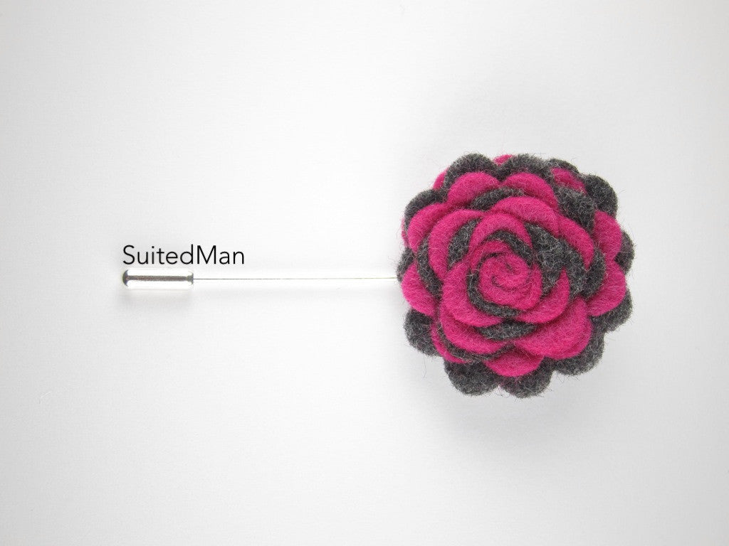 Pin Lapel Flower, Felt, Colorway, Magenta/Dark Grey - SuitedMan