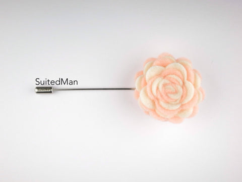 Pin Lapel Flower, Felt, Colorway, Peaches and Cream (Limited) - SuitedMan