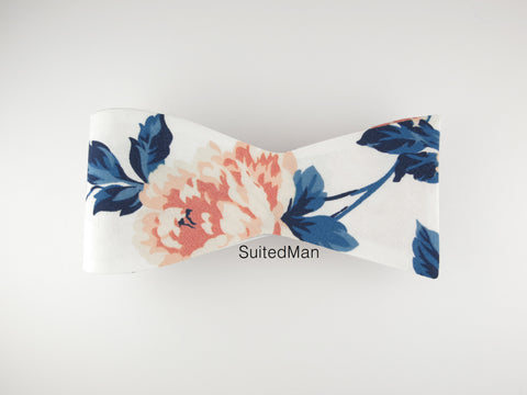 Floral Bow Tie, Peach Rose en Bloom, Flat End - SuitedMan