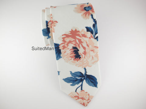 Floral Tie, Peach Rose en Bloom - SuitedMan