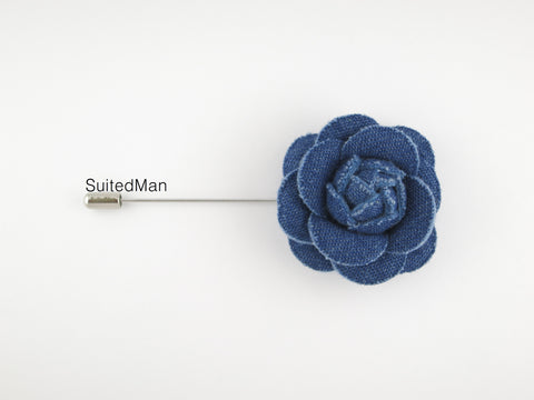 Lapel Flower, Denim Camellia, Blue - SuitedMan