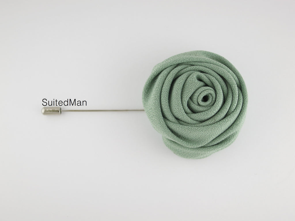 Lapel Flower, Rose, Celadon Green - SuitedMan