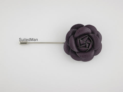 Lapel Flower, Leather Camellia, Plum - SuitedMan