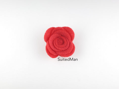 Lapel Flower, Felt, Rose, Coral (Limited) - SuitedMan