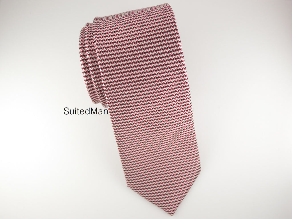 Tie, Micro Chevron, Red/Black - SuitedMan