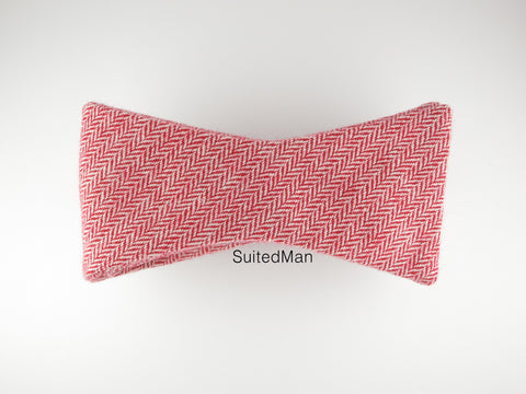 Bow Tie, Wool, Red Coral Herringbone