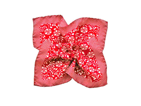 Pocket Square, Herringbone Floral, Red Coral