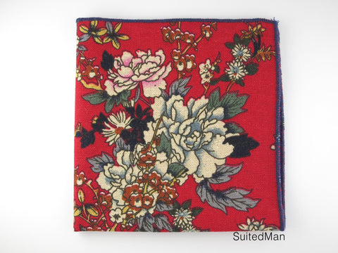 Pocket Square, Red Peonies - SuitedMan