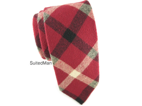 Tie, Plaid, Red - SuitedMan
