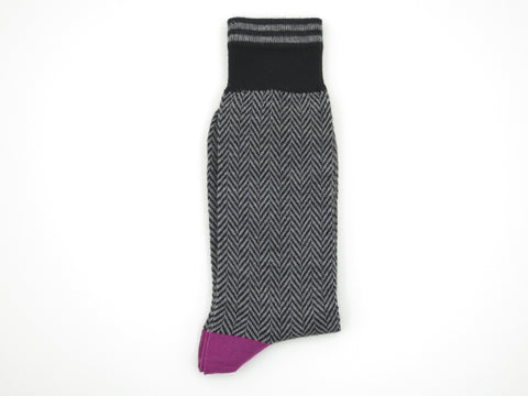 Socks, Herringbone, Black - SuitedMan
