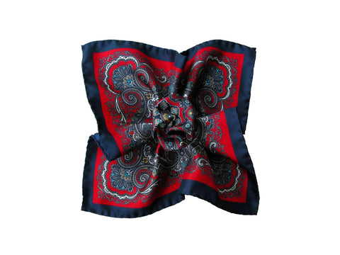 Pocket Square, Scarlet Floral Scroll - SuitedMan