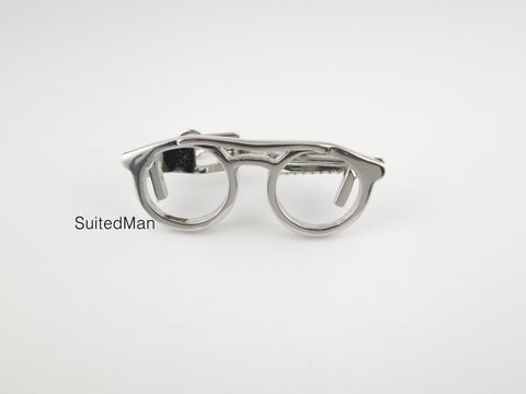 Spectacles Tie Clip, Silver