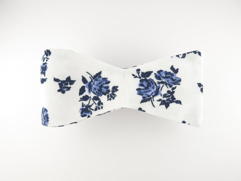 Floral Bow Tie, Blue Violet Rose, Flat End - SuitedMan