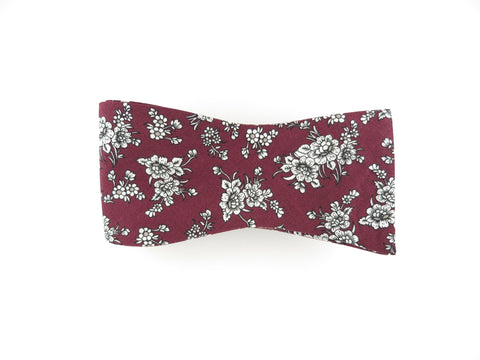 Floral Bow Tie, Burgundy Noir, Flat End