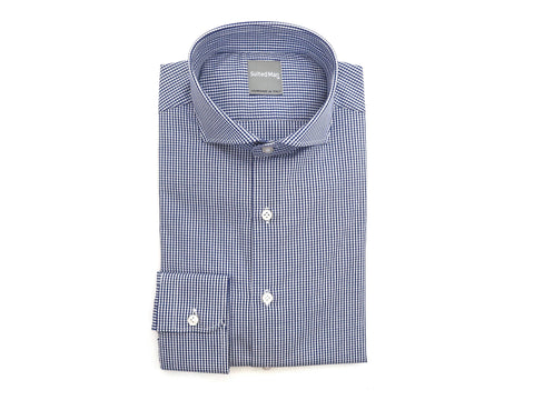 SuitedMan D'Italia, Shirt, Blue Micro Gingham - SuitedMan