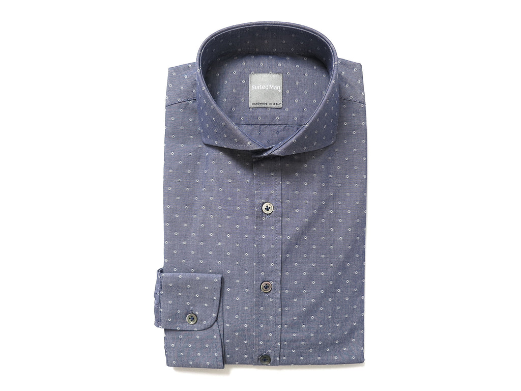 SuitedMan D'Italia, Shirt, Vintage Blue Chambray Dots - SuitedMan