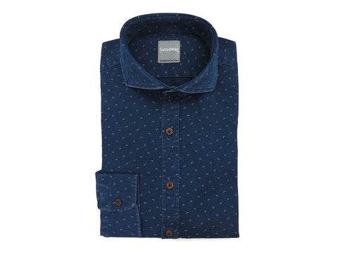 SuitedMan D'Italia, Shirt, Denim Mini Floral - SuitedMan