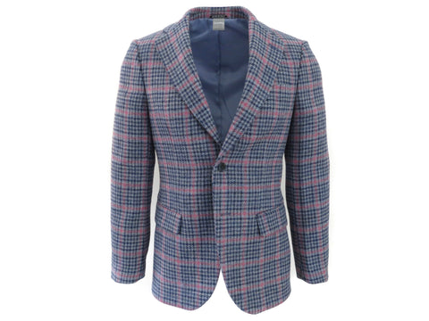 SuitedMan D'Italia Jacket, Tweed Houndstooth Windowpane, Blue Cerise - SuitedMan