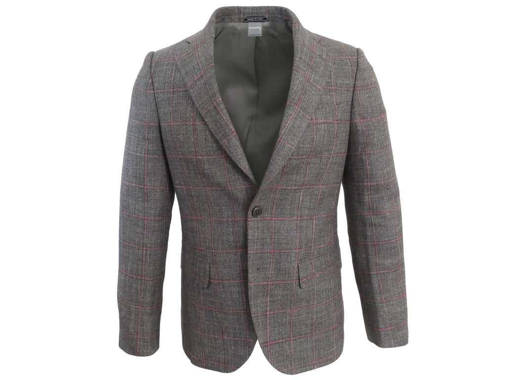 SuitedMan D'Italia Jacket, Windowpane, Gray/Pink - SuitedMan