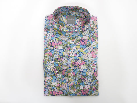 SuitedMan D'Italia, Liberty of London, Fleurs Pink/Sky, Cutaway Collar - SuitedMan
