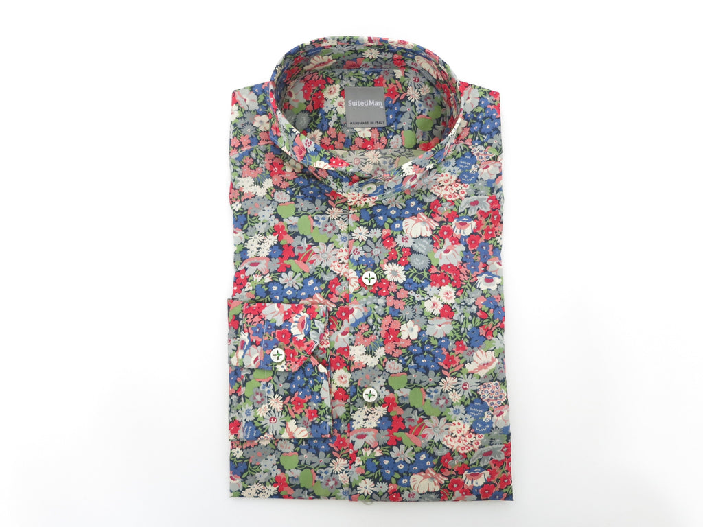 SuitedMan D'Italia, Liberty of London, Fleurs Red/Blue, Cutaway Collar - SuitedMan