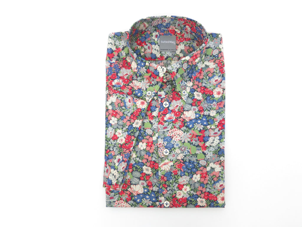SuitedMan D'Italia, Liberty of London, Fleurs Red/Blue, Short Sleeve - SuitedMan