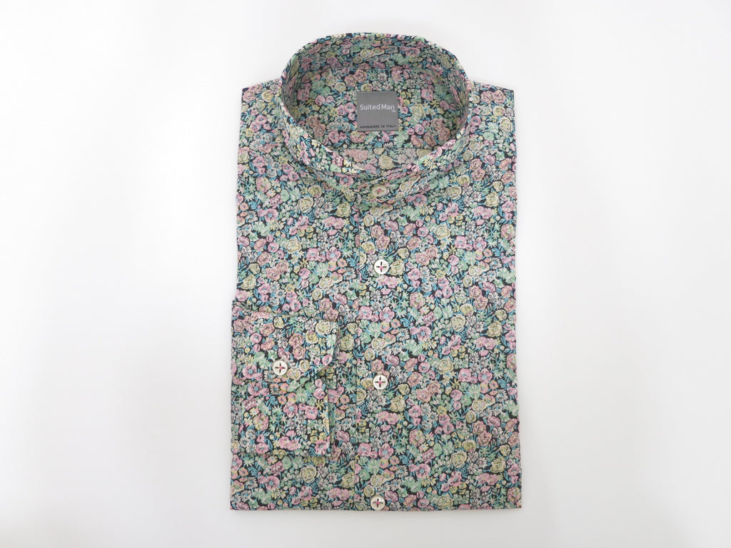SuitedMan D'Italia, Liberty of London, Peach Mille Fleurs, Cutaway Collar - SuitedMan