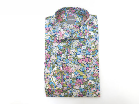 SuitedMan D'Italia, Liberty of London, Fleurs Pink/Sky, Spread Collar