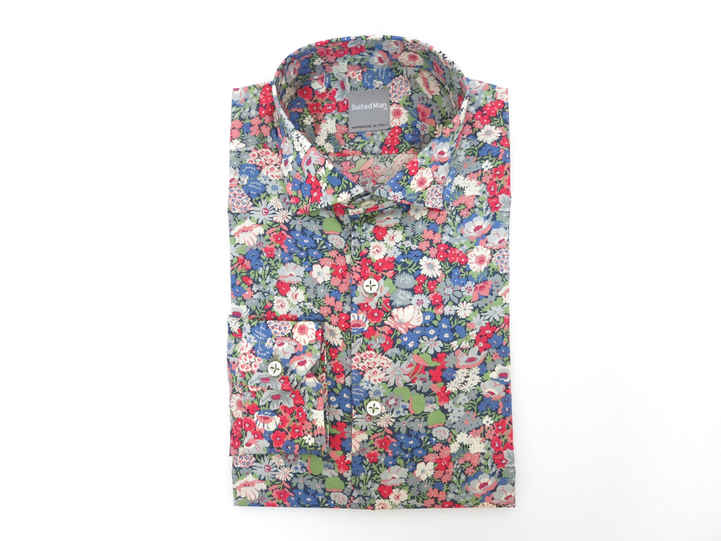 SuitedMan D'Italia, Liberty of London, Fleurs Red/Blue, Spread Collar - SuitedMan