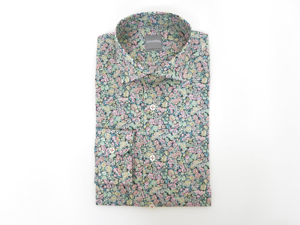 SuitedMan D'Italia, Liberty of London, Peach Mille Fleurs, Spread Collar - SuitedMan