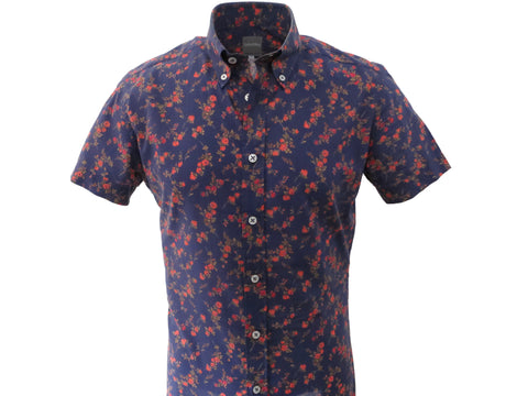 SuitedMan D'Italia, Liberty of London, Navy English Rose, Short Sleeve