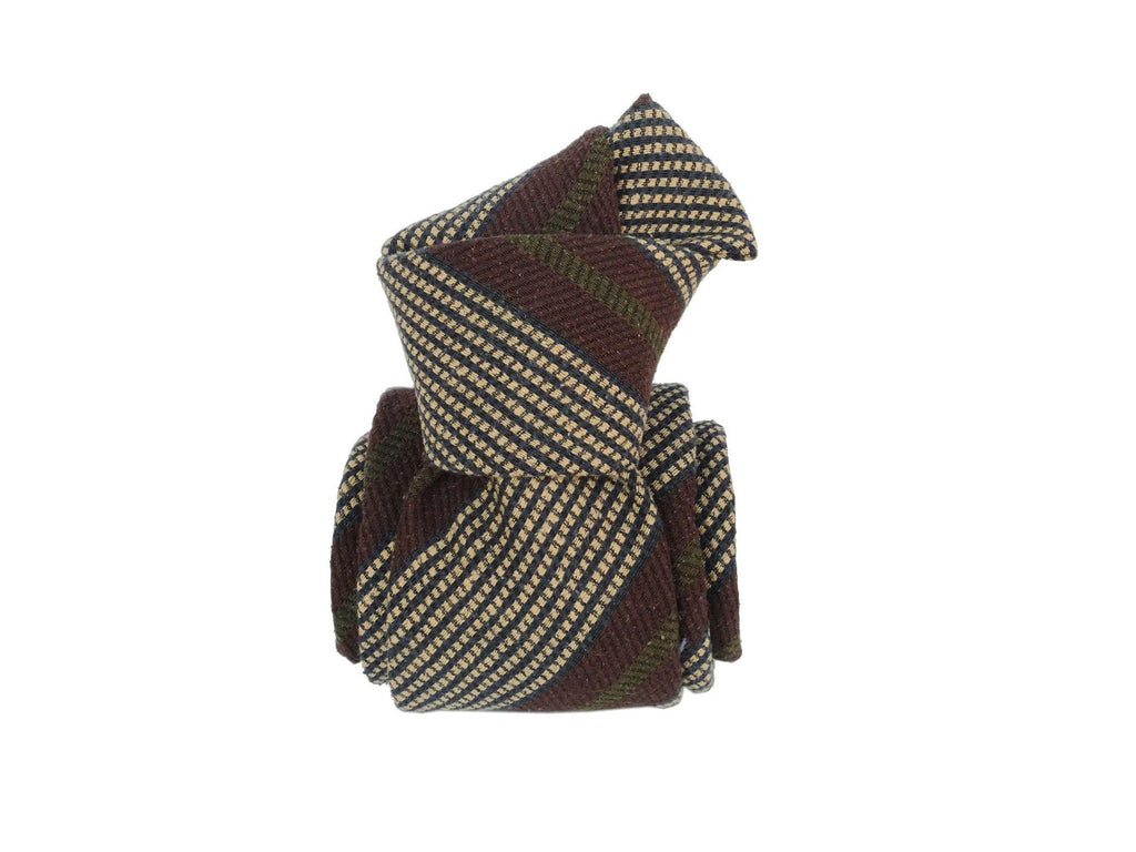 SuitedMan D'Italia Tie, Olive Brown Stripes - SuitedMan