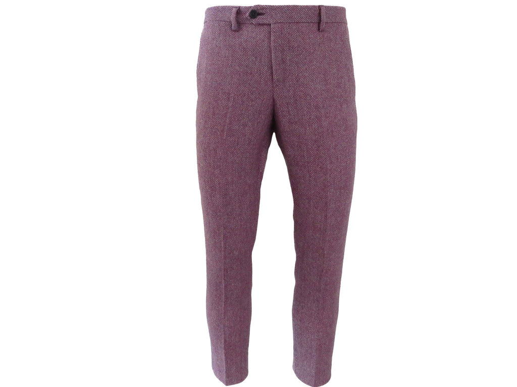 SuitedMan D'Italia Trousers, Tweed Herringbone, Lilac - SuitedMan