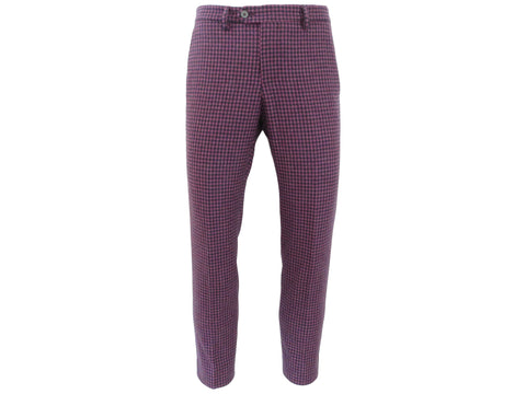 SuitedMan D'Italia Trousers, Mini Check, Purple - SuitedMan