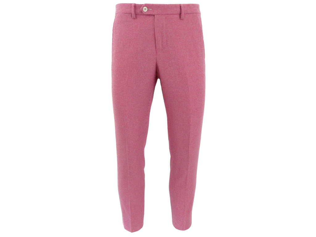 SuitedMan D'Italia Trousers, Puppytooth, Pink - SuitedMan