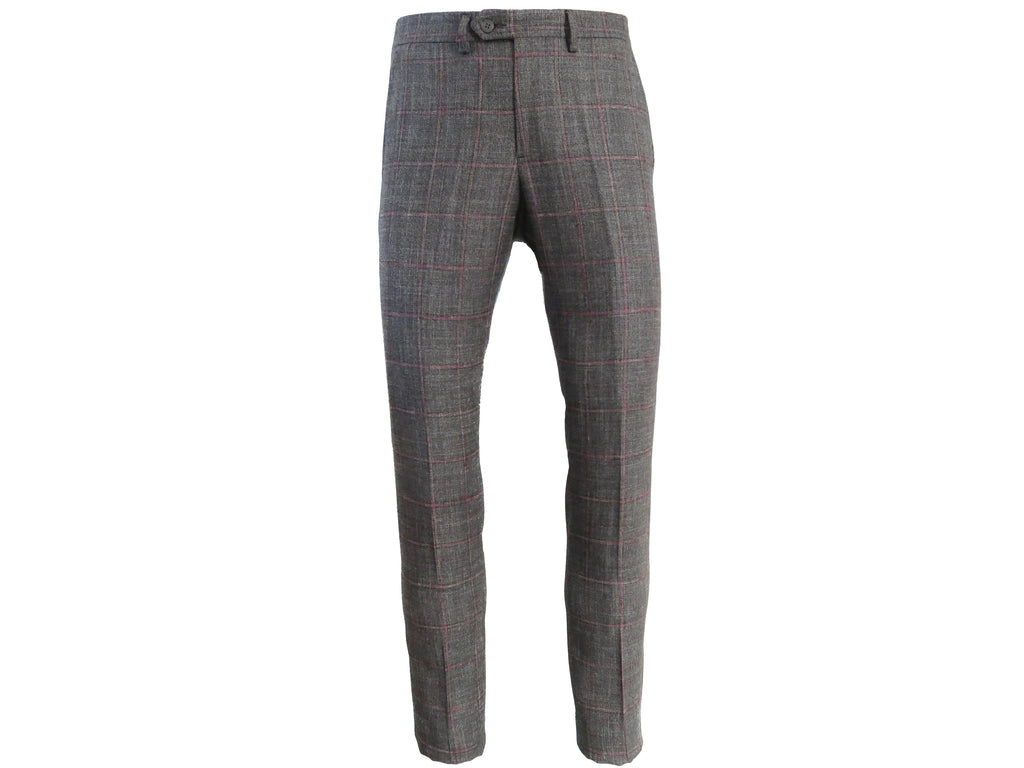 SuitedMan D'Italia Trousers, Windowpane, Gray/Pink - SuitedMan