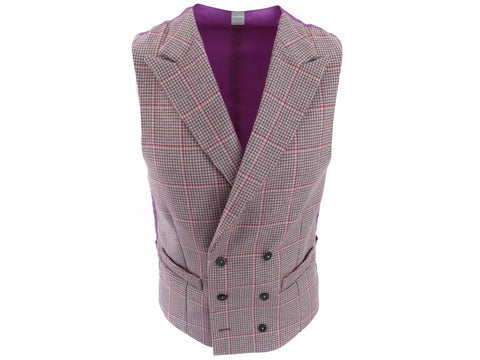 SuitedMan D'Italia Waistcoat, Houndstooth Coigach, Pink/Lilac