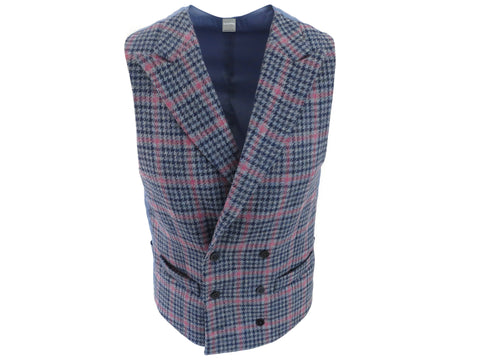 SuitedMan D'Italia Waistcoat, Tweed Houndstooth Windowpane, Blue Cerise