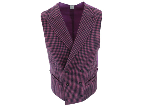 SuitedMan D'Italia Waistcoat, Mini Check, Purple - SuitedMan