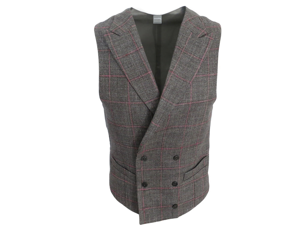SuitedMan D'Italia Waistcoat, Windowpane, Gray/Pink - SuitedMan