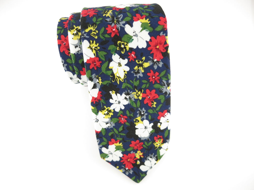 Floral Tie, Daisy, Red/Black - SuitedMan
