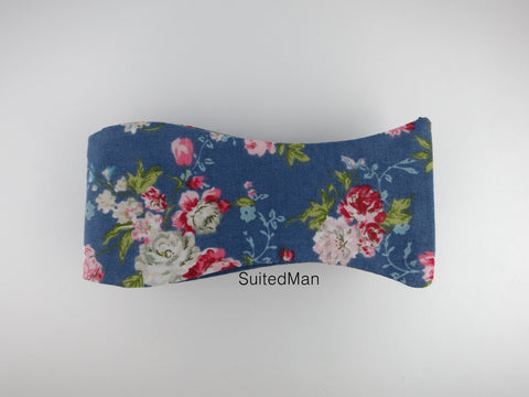 Floral Bow Tie, Blue English Rose