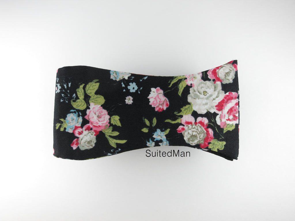 Floral Bow Tie, English Rose Noir - SuitedMan