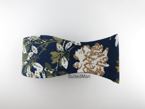 Floral Bow Tie, Navy Golden Peonies