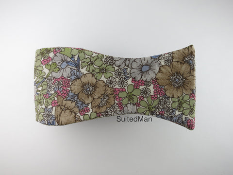 Floral Bow Tie, Olive Poppy