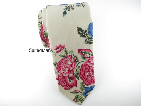Floral Tie, Antique Peonies